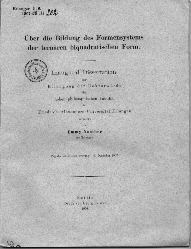 Cover Page Of Emmy Noether S Dissertation